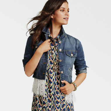 Contrast textures like denim with removable lace for a touch of edgy femininity