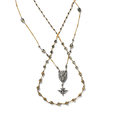 Long, short, or wrapped around, a double necklace is all about the versatility.