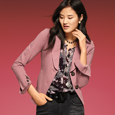 A bold jacket in a fall favorite, pink quartz, crystallizes your look around a statement piece.
