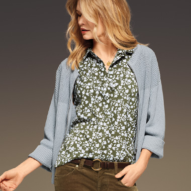 A cardi as a pullover?  Yes! Better yet, unzip and reverse it midday for a stunning quick change.
