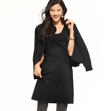 Black separates that go with everything come together for a totally chic look.