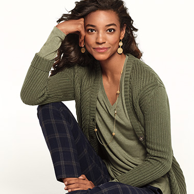 Get your winter greens on with a contemporary spin on the twinset.