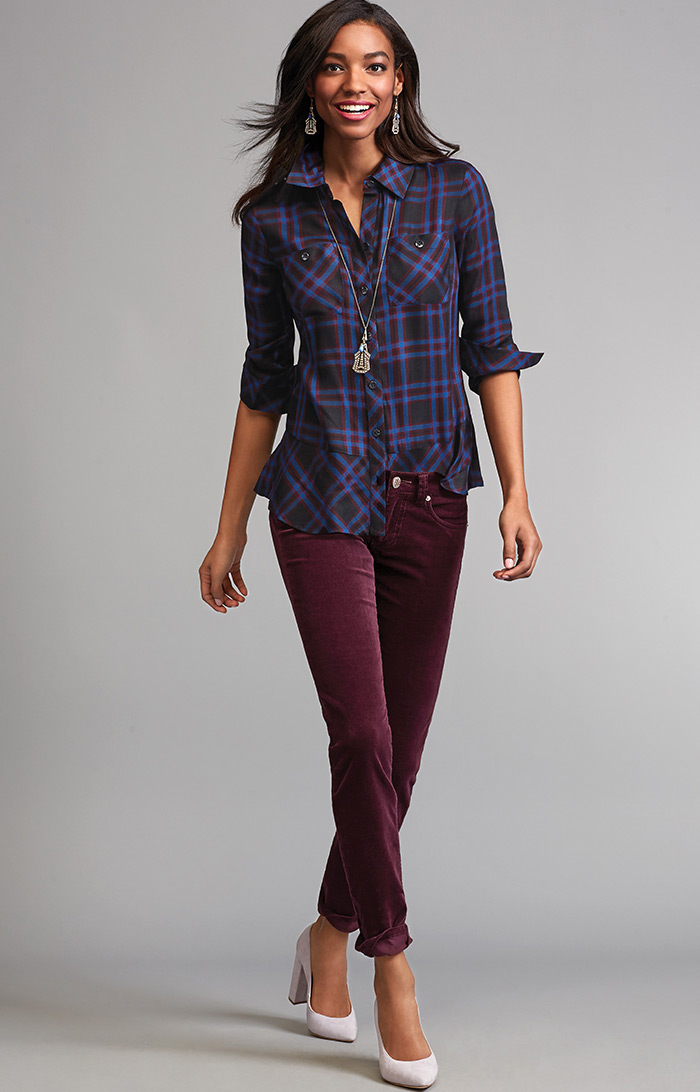 Check Shirt and Skinny Cord - cabi Fall Clothing Collection