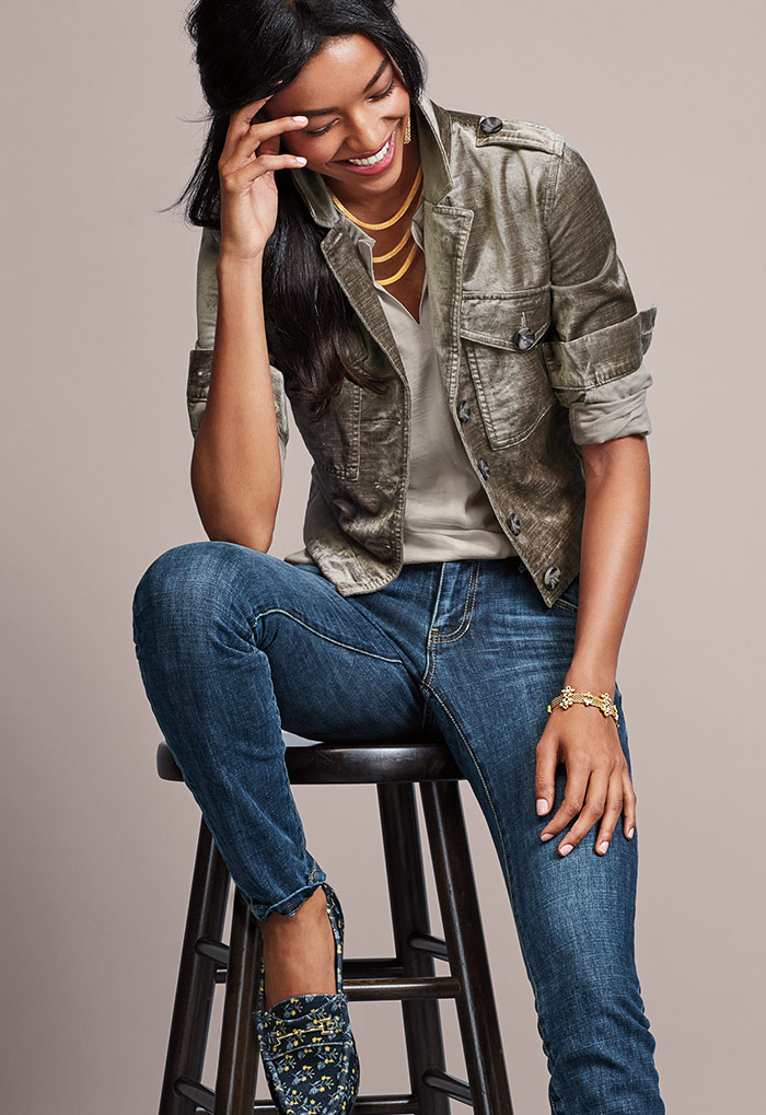 Sunday Topper, Last Dance Blouse, Dover Skinny Jeans and Trois Necklace - cabi Fall Clothing Collection