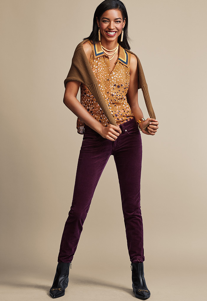 Luna Pullover, Cheers Blouse and Skinny Cord - cabi Fall Clothing Collection