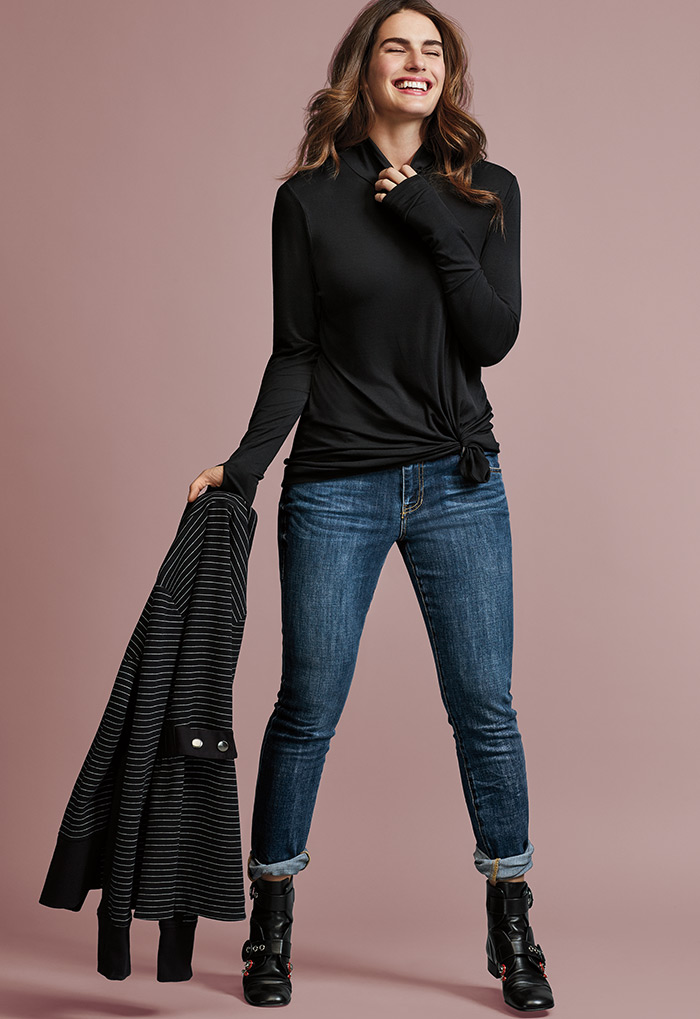 Spring Jacket, Layer Turtleneck and Dover Skinny Jeans - cabi Fall Clothing Collection