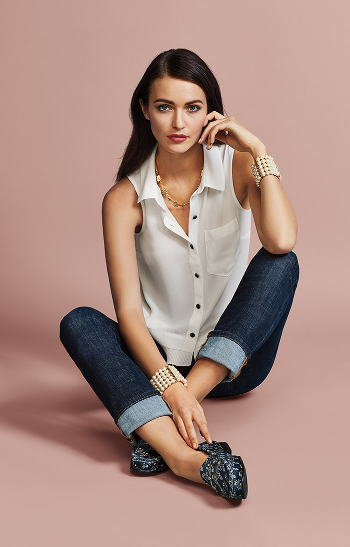 Pleat Blouse and High Straight Jeans - cabi Fall Clothing Collection
