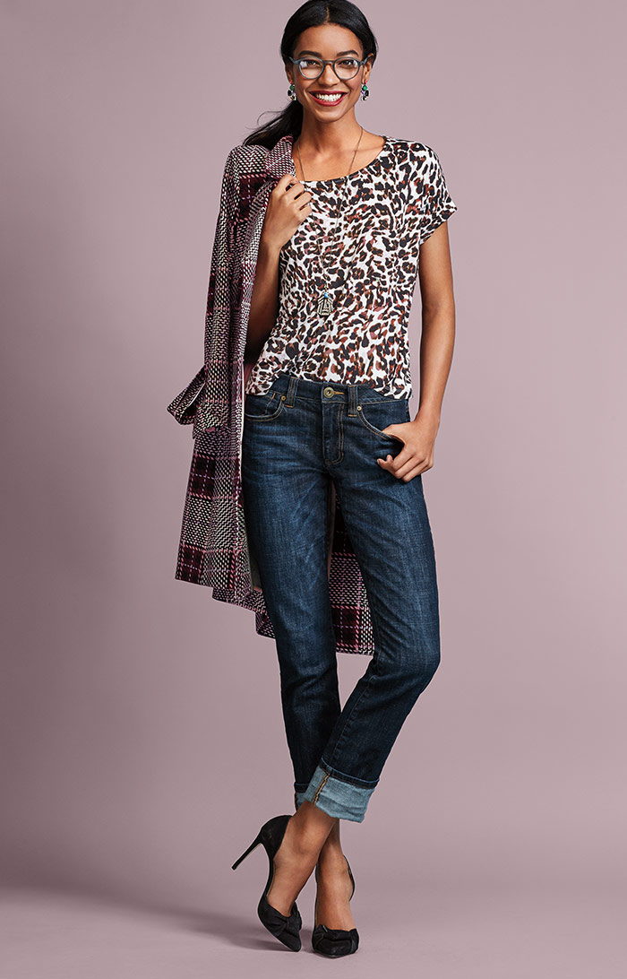 Sovereign Coat, Crop Tee and High Straight Jeans - cabi Fall Clothing Collection