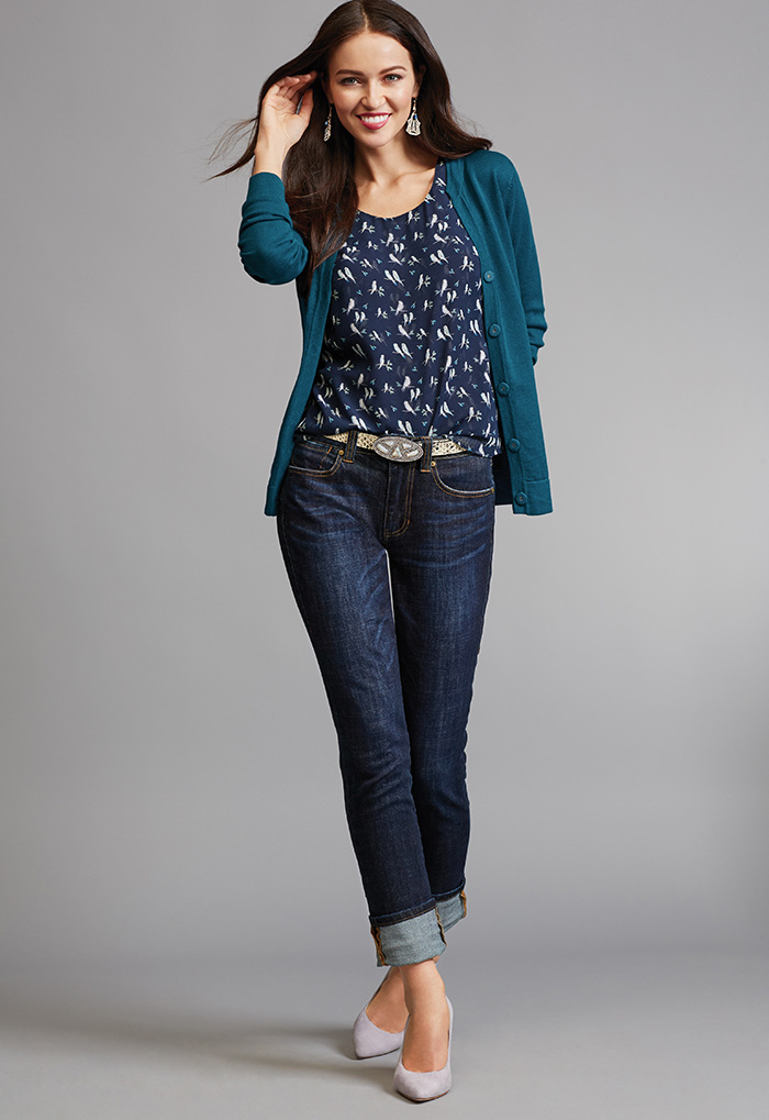 Ever Cardigan, Chirp Shirt and High Straight Jeans - cabi Fall Clothing Collection